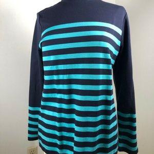 Talbots Womens Blouse Blue Stripe Long Sleeve Mock